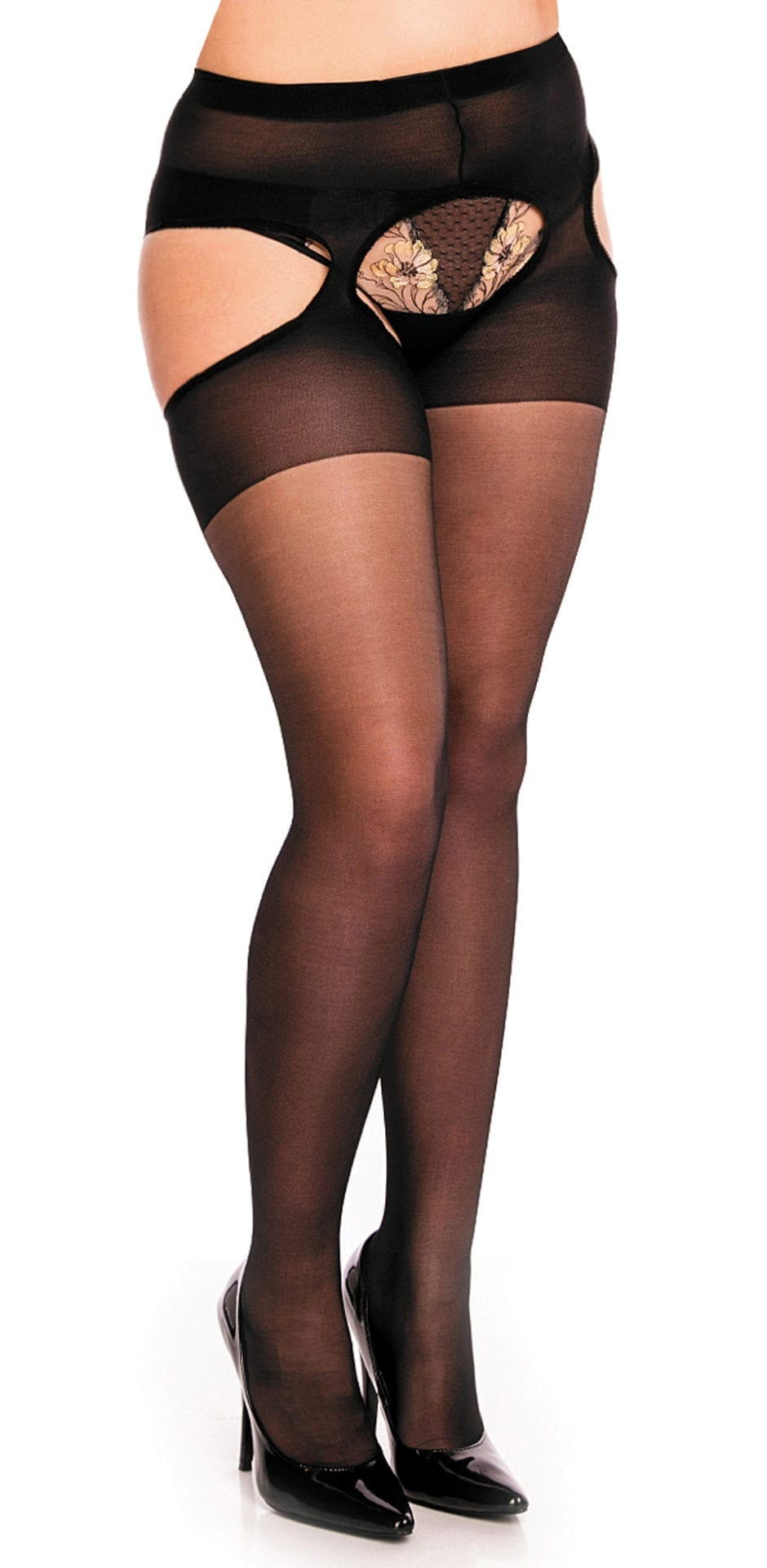 Glamory Plaisir Ouvert 20 Tights 20 denier black front veiw half body one