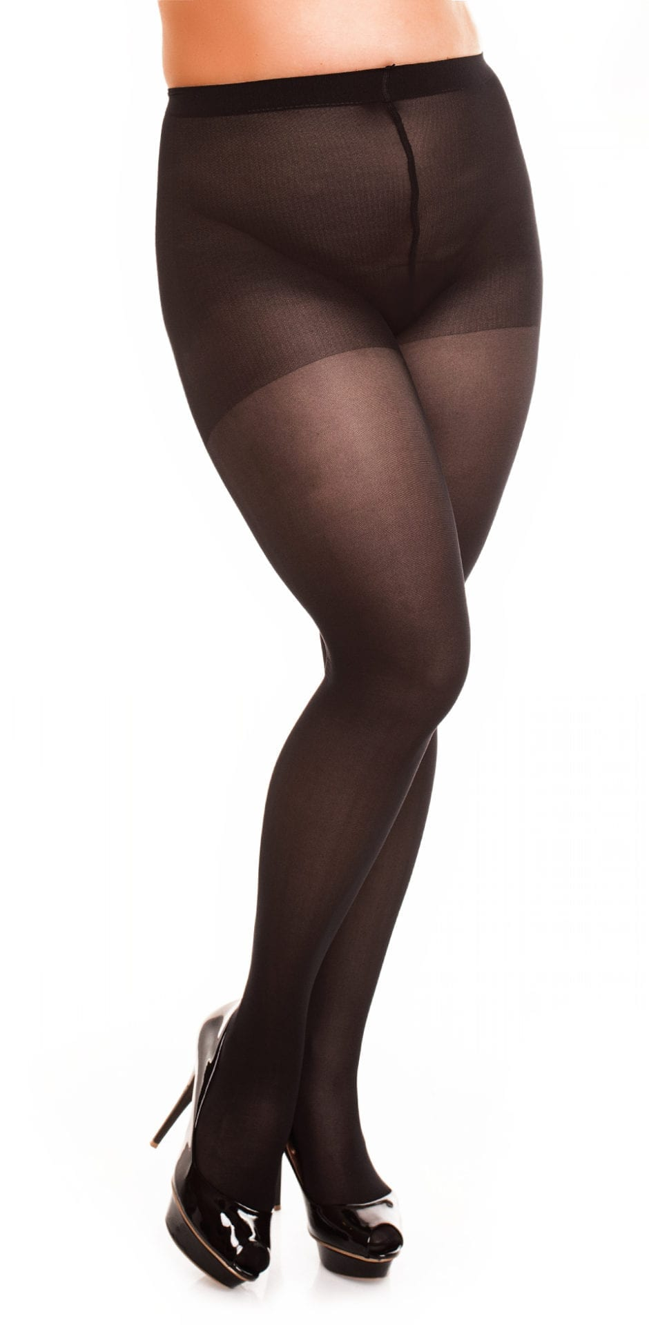 Plus size model wearing Glamory vital 40 support tights in color black front view close up