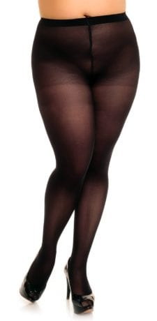 Plus size model wearing Glamory microstar 50 tights in color black front view close up
