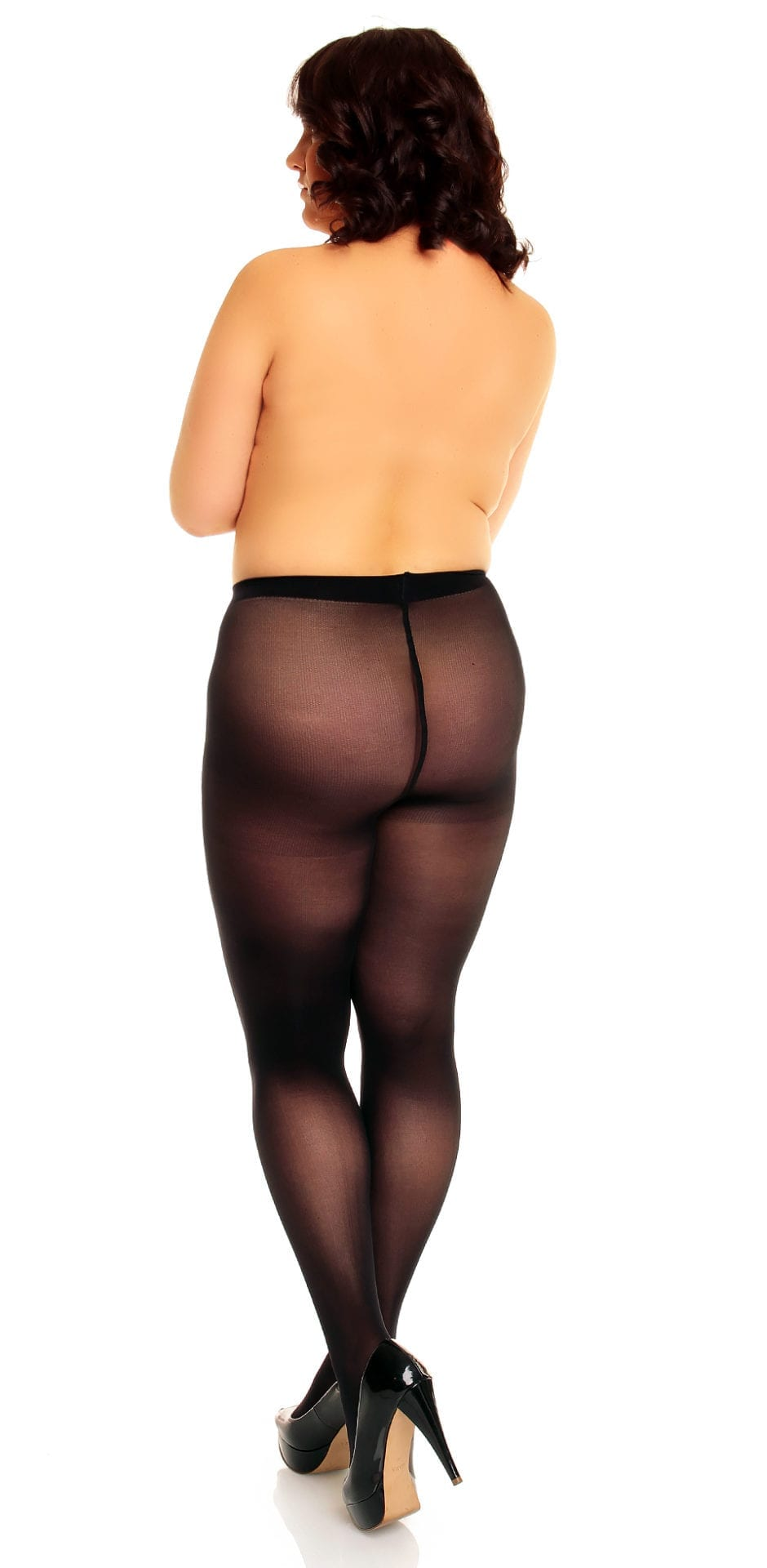 Plus size model wearing Glamory microstar 50 tights in color black Back view