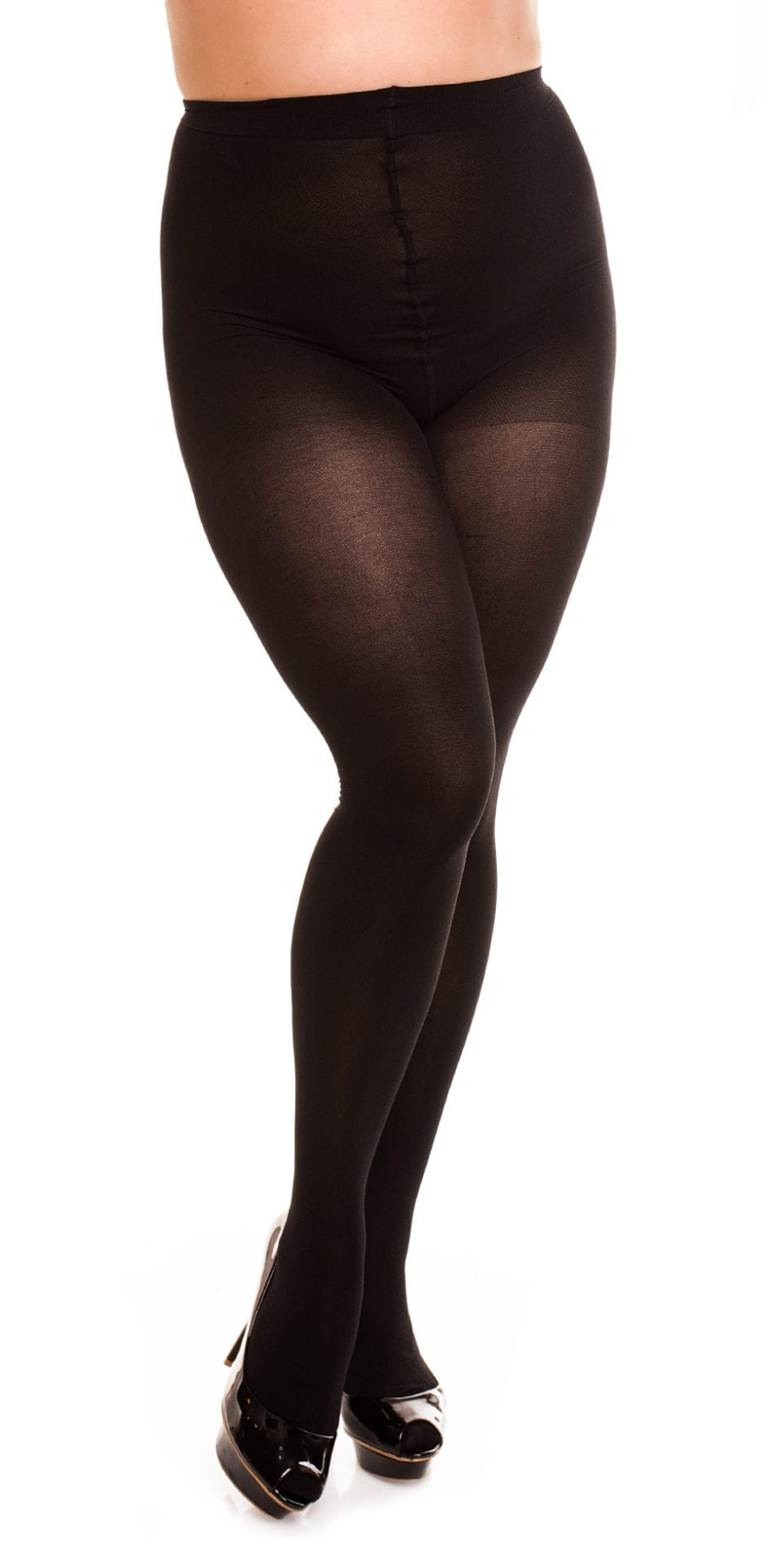 Plus size model wearing Glamory vital 70 support tights in color black front view close up