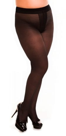Plus size model wearing Glamory ouvert 20 crotchless tights in color black front view close up