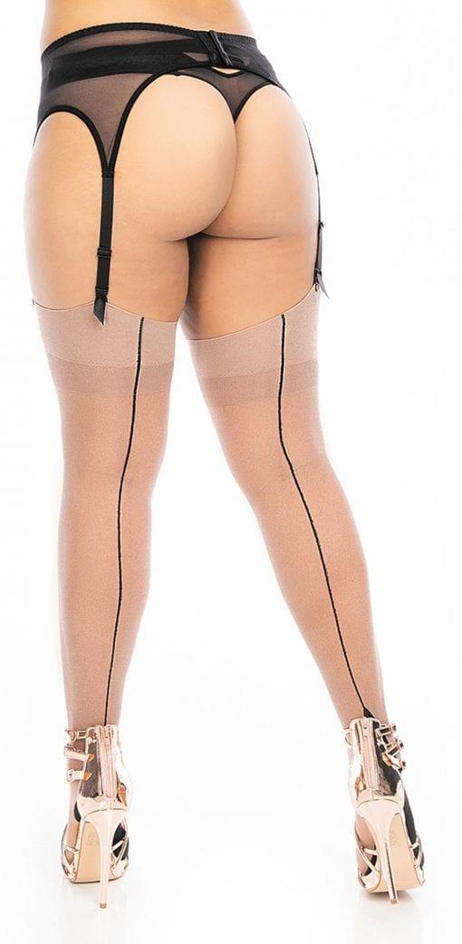 plus size pinup stockings nude with black seam