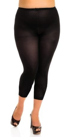 Plus size model wearing Glamory velvet 80 footless legging tights front veiw close up