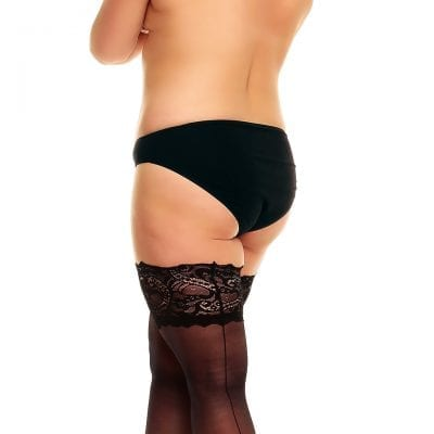 Plus size model wearing Glamory couture 20 thigh high holdups back veiw