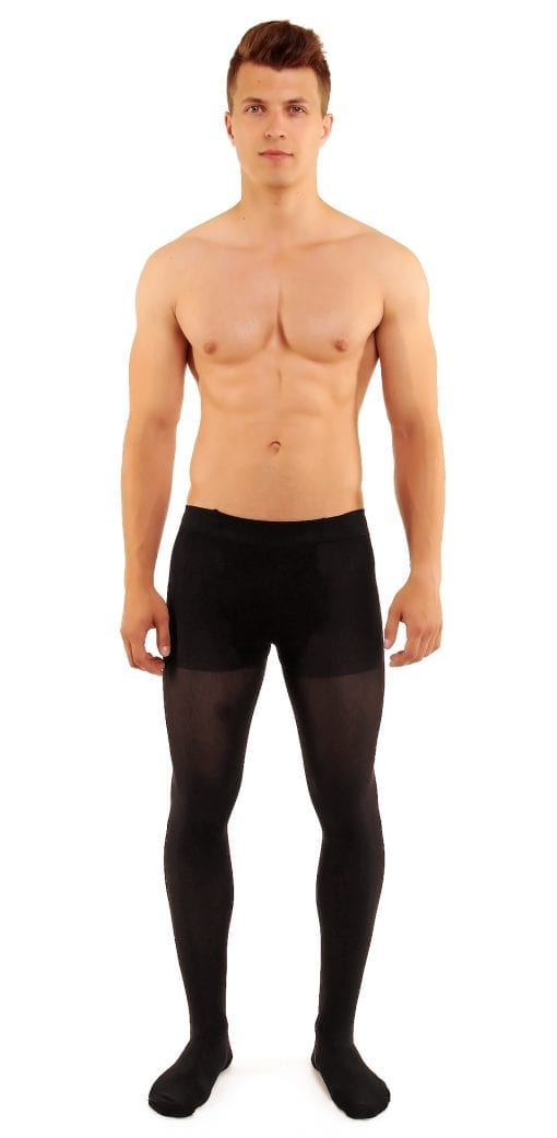 Men's Microman 100 tights 100 denier black front view full body
