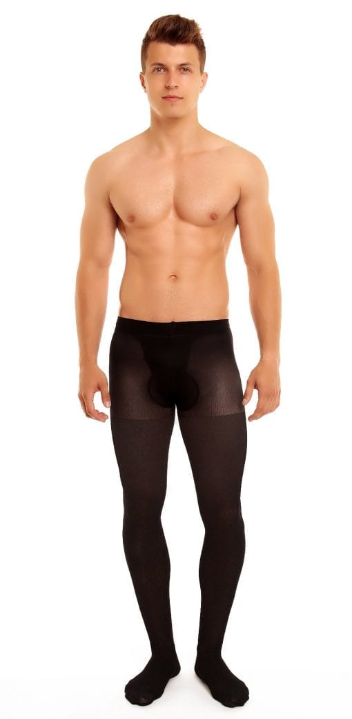 Men's Support 40 tights 40 denier black front view full body