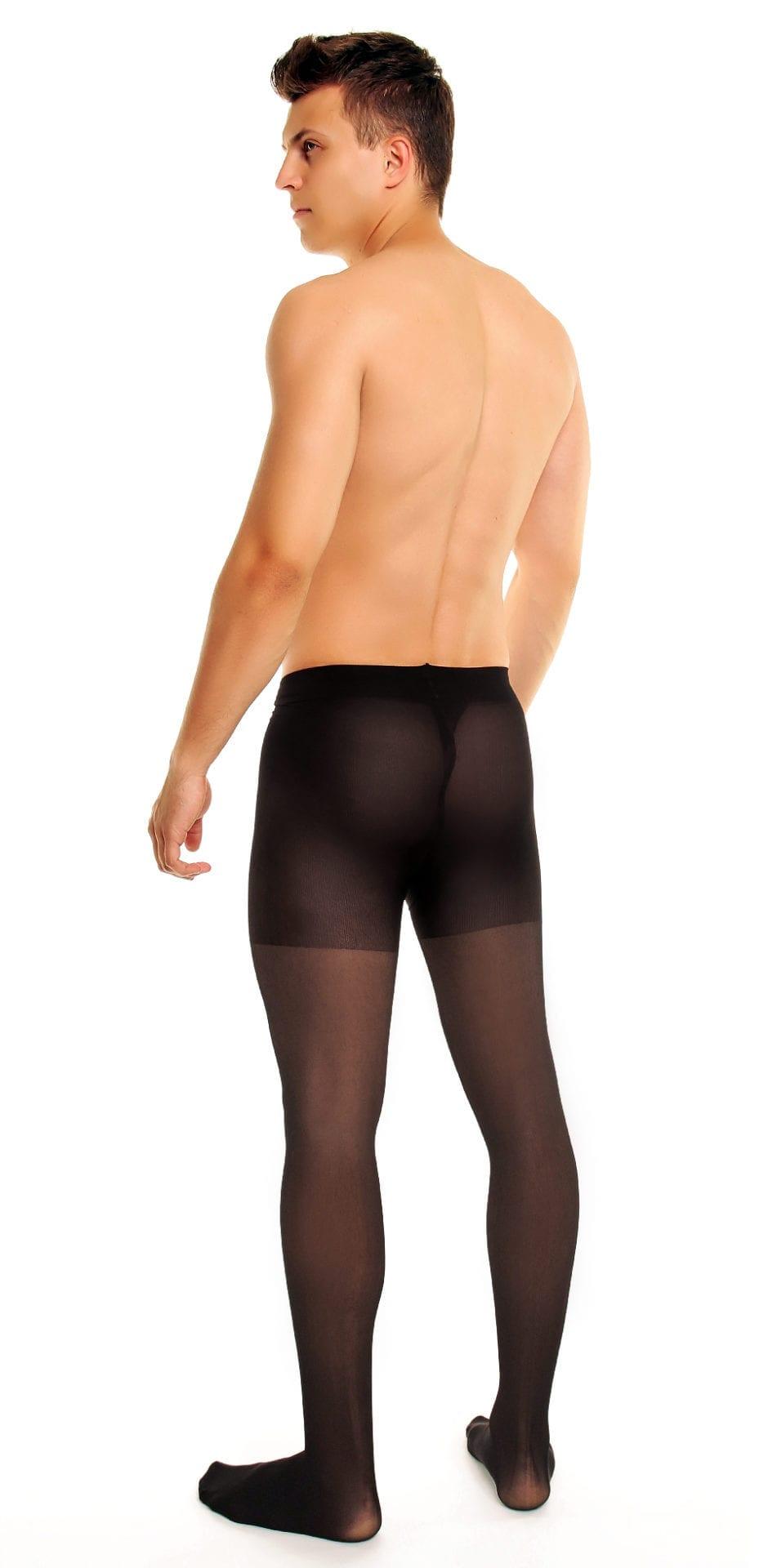 Men's Support 70 tights 70 denier black back view full body