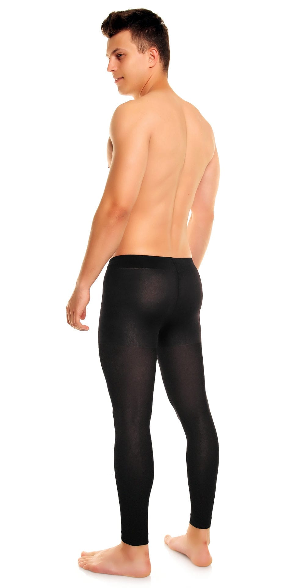 Men's Thermoman 100 footless tights 100 denier black back view full body