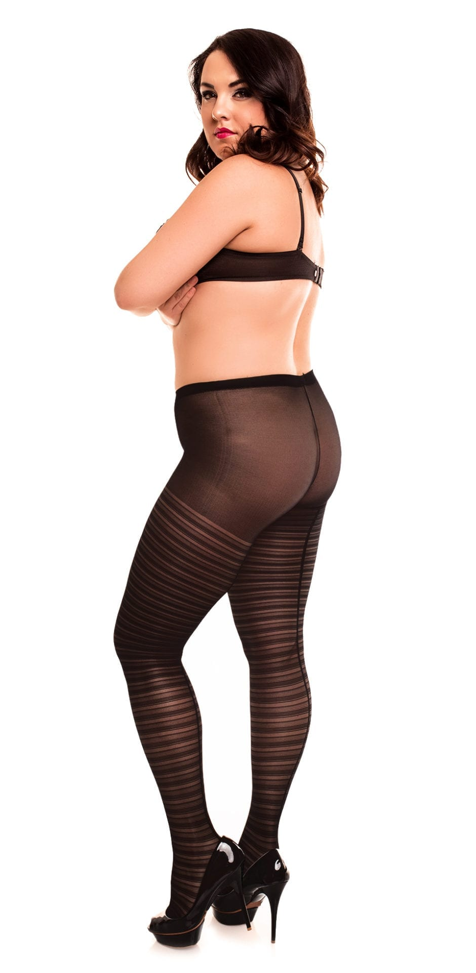 Glamory Saturnia 20 Patterned Tights 20 denier black back view full body