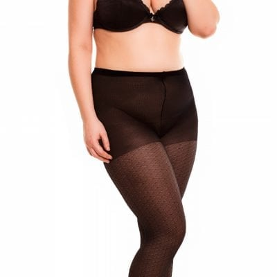 Glamory Honey 20 Patterned Tights 20 denier black front view full body