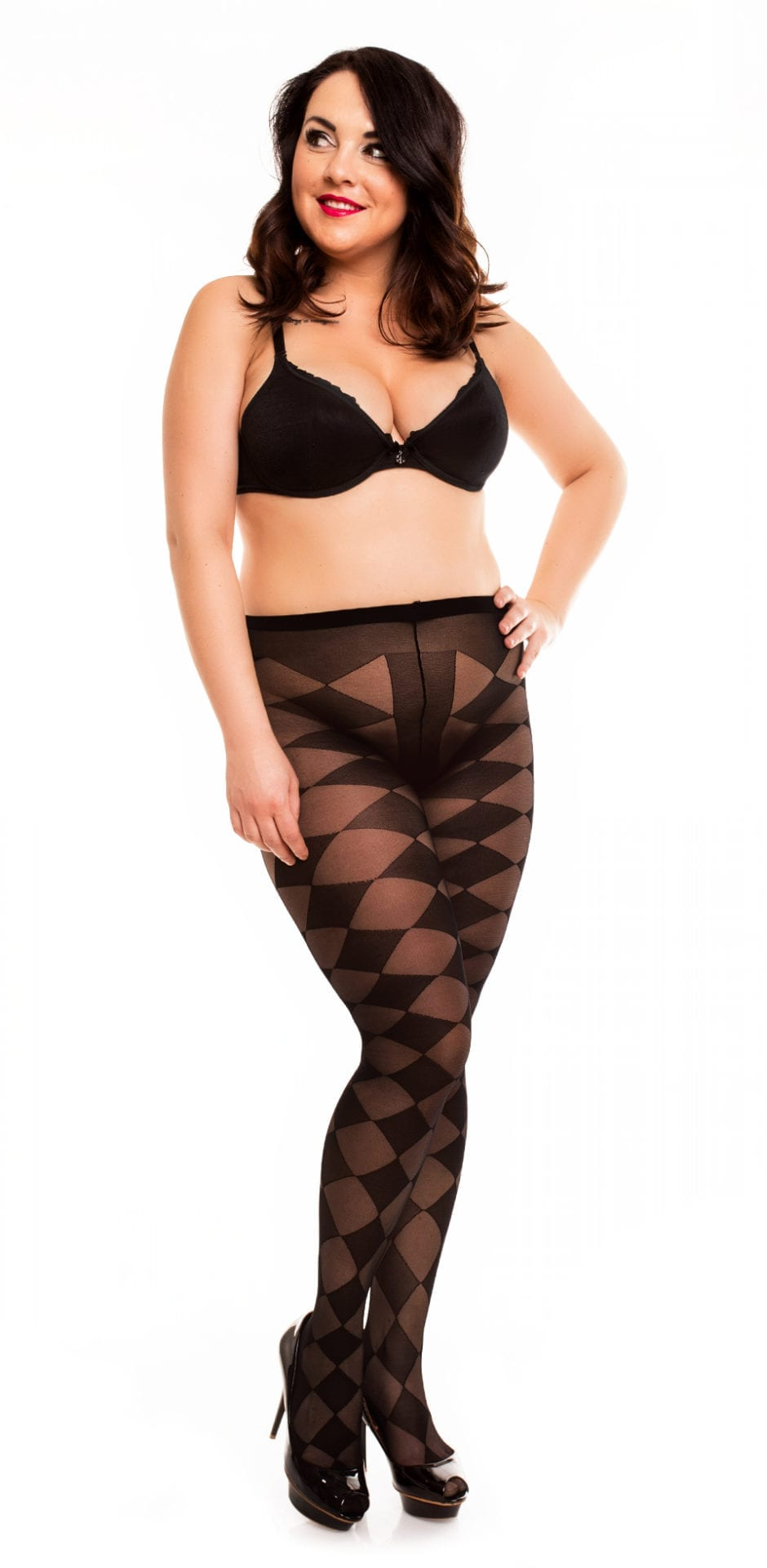 Glamory Diamond 20 Patterned Tights 20 denier black front view full body