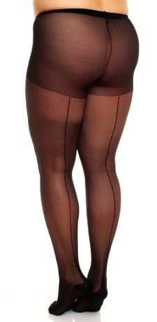 Glamory Amore 20 Seamed Tights 20 denier with back seam black back view half body