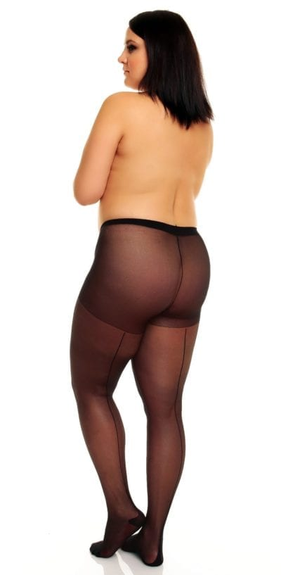 Glamory Amore 20 Seamed Tights 20 denier with back seam black back view full body