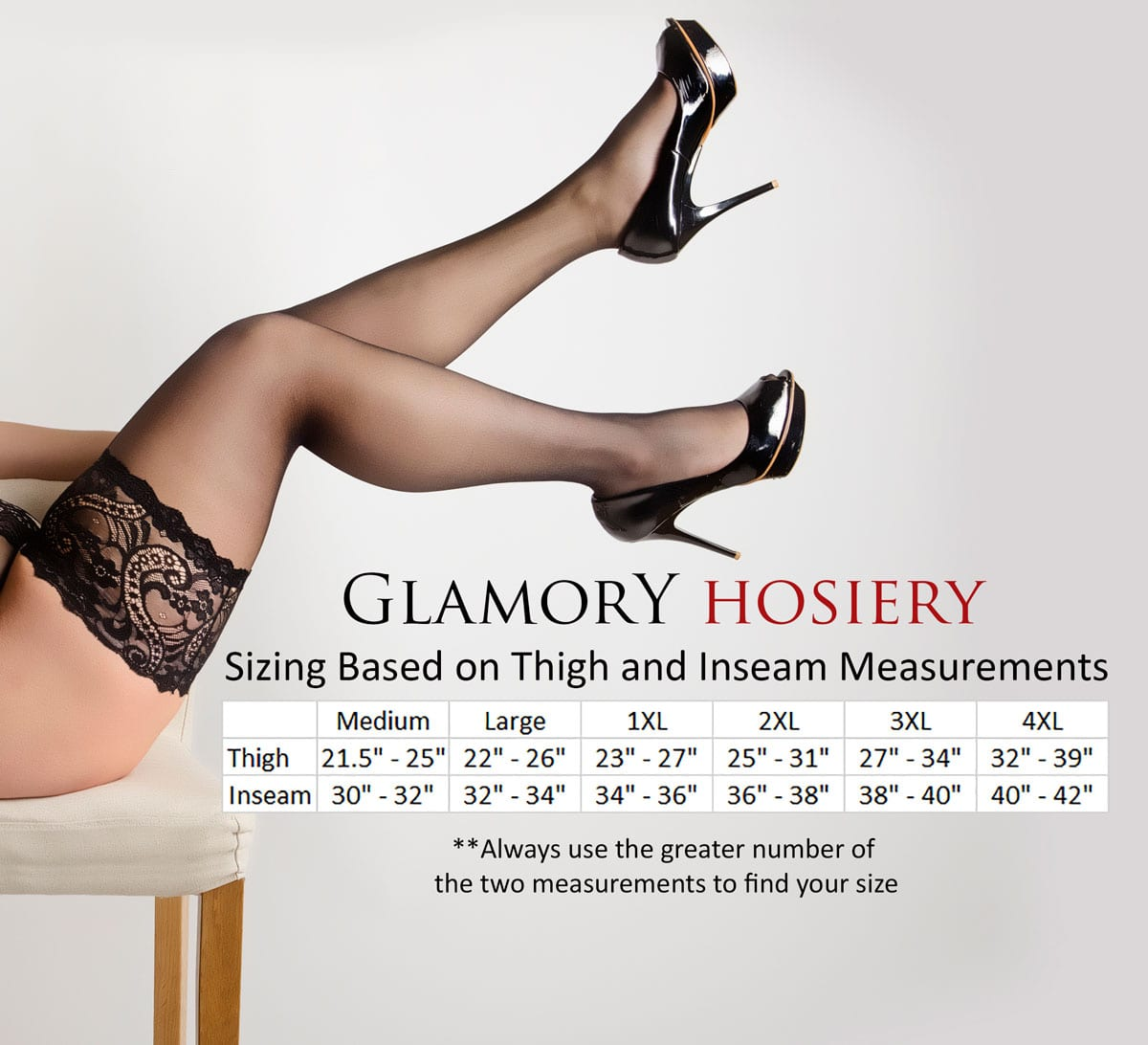 Glamory Plus Size Hosiery Sizing Guide | Get The Right Size